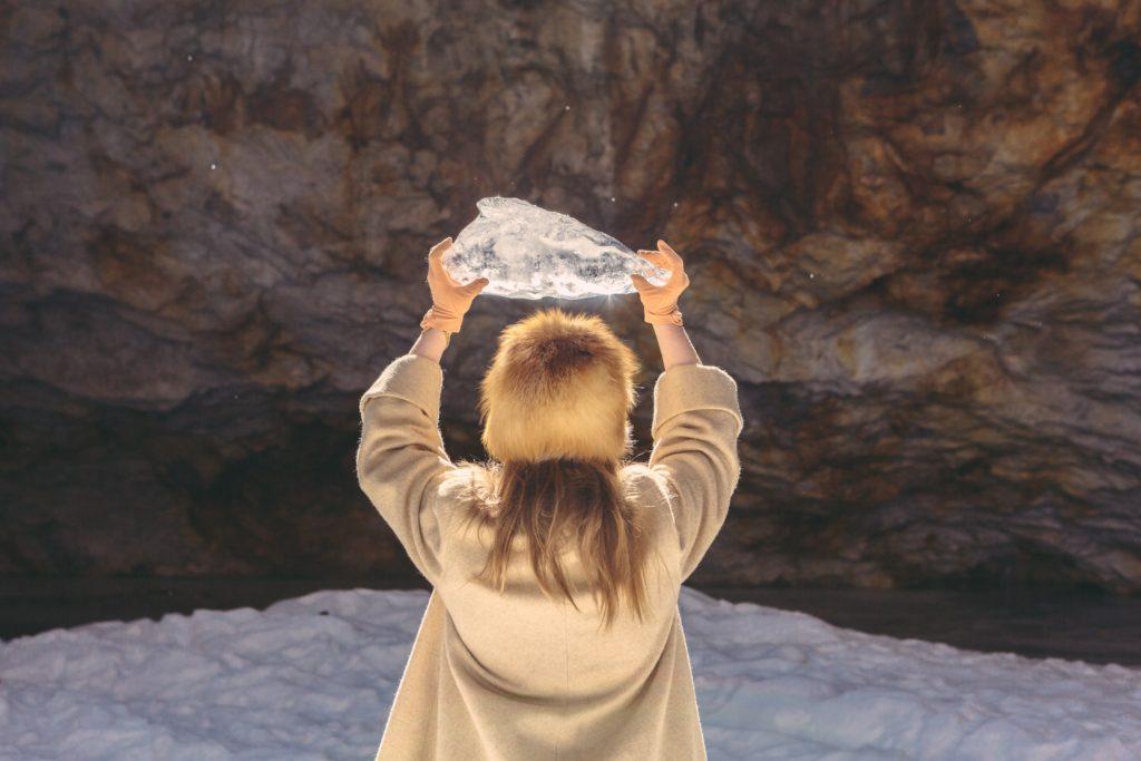 lady holding ice
