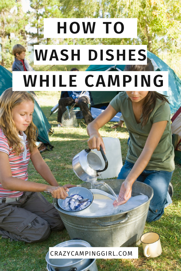 Easiest Way to Wash Dishes While Camping article cover image of kids washing camp dishes