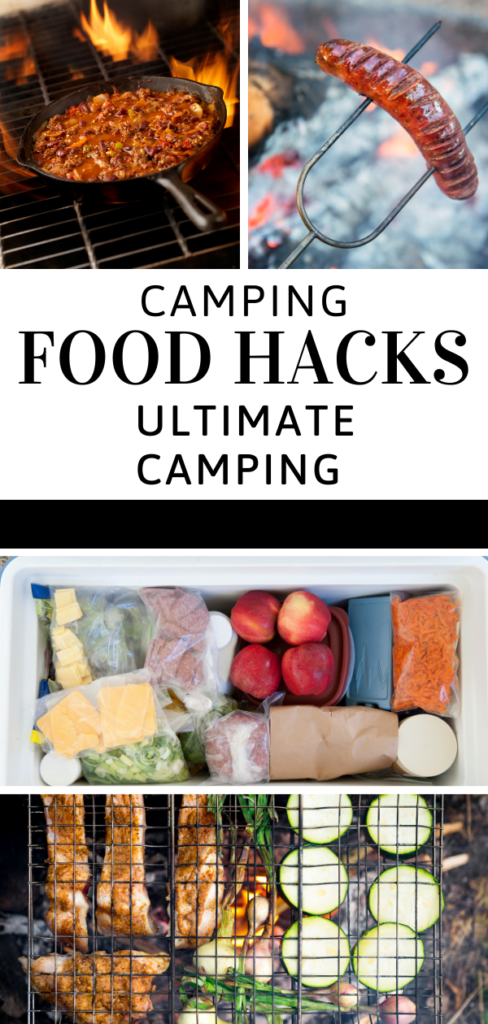 Camping food hacks article collage image with camp food