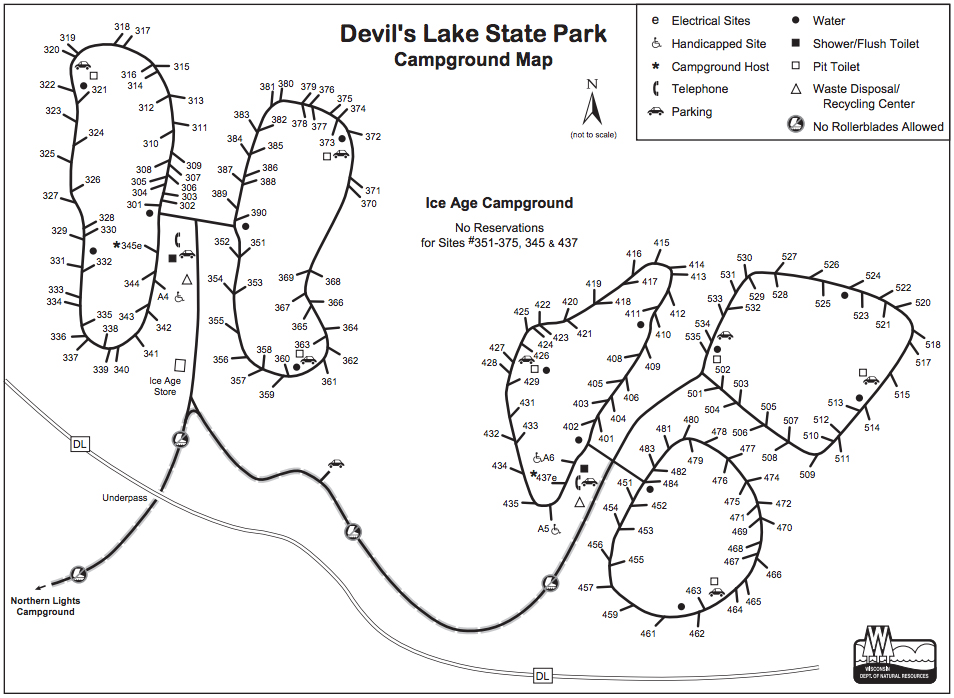 Ice Age Campground map of Devil's Lake State Park