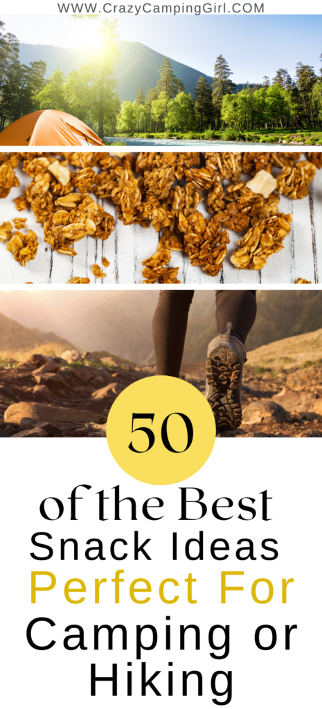 50 of the Best Snack Ideas Perfect for Camping or Hiking article cover image with granola, a tent, and a hiker