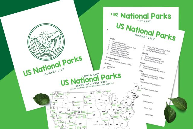 FREE National Parks Bucket List Printable packet from Crazy Camping Girl
