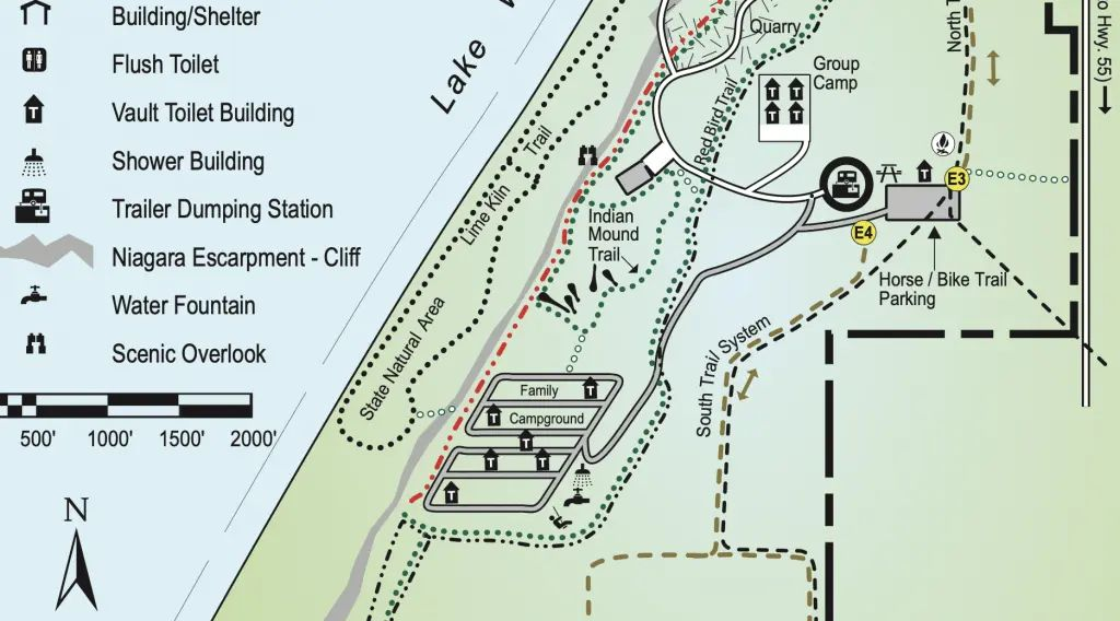 High Cliff State State Park group Campground Map