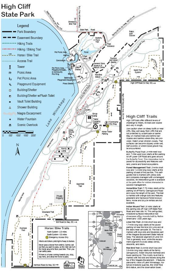 High Cliff State Park Trail Map