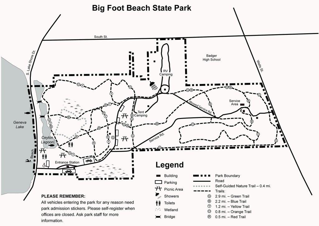 big foot beach state park hiking trail map
