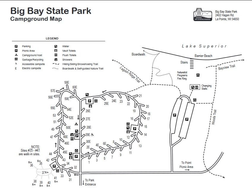 big bay state park campground map