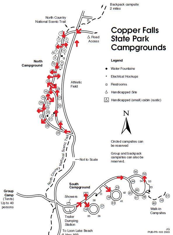 Copper Falls Camping Map