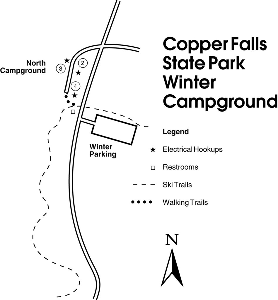 Copper Falls winter Campground map